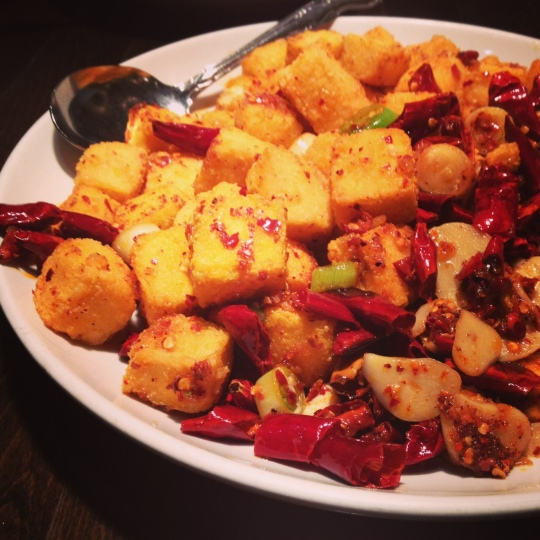fried tofu cubes with hot pepper